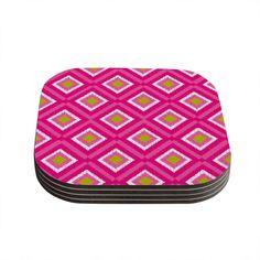 Kess InHouse Nicole Ketchum 'Moroccan Hot Pink Tile' Coasters (Set of 4) (Moroccan Hot Pink Tile) (Wood)