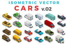 Vector Cars Isometric Flat style v.2 by Sentavio on @creativemarket