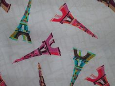 Paris Eiffel Tower Small Colors Cotton Fabric Fat by scizzors