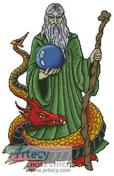 Image detail for -Wizard Dragon Cross Stitch Pattern