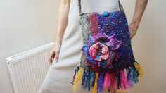 Purple Blue Pink Lavender knitted Felted bag purse pouch with Flower Rose Peony Brooch Pin, Nuno Felted Wool Silk on Etsy, $53.00