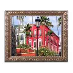 Trademark Fine Art Old San Juan 1 inch Canvas Art by CATeyes, Gold Ornate Frame, Size: 11 x 14, Red