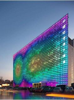 Zero engergy media wall by Simone Giostra & Partners - Xicui entertainment complex in Beijing. the worlds largest color LED display, powered by a photovoltaic system integrated into the glass curtain wall. Futuristic Architecture, Amazing Architecture, Architecture Design, Facade Design, Green Architecture, Amazing Buildings, Building Architecture, Contemporary Architecture, Led Decoration