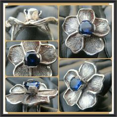 This piece is a Handmade sterling silver tudor rose ring.set with a gorgeous deep blue sapphire. My first flower piece, as such was the first in my extensive collection of floral jewelry.  Each inspired by the tudor rose to some degree. This piece was built without the use of a single prefabricated component. All detail achieved through engraving. All engraving done by hand,  free hand as well, no stencil,  2 circles scribed on using a divider,  nothing more as a guide.   Flowers are symbols…