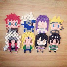 Naruto characters hama perler beads by thecraftybears Gaara, Kakashi, Hinata, Naruto, Jiraiya Tsunade, Orochimaru, and Might Guy.