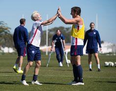 Megan Rapinoe, Abby Wambach, training, Algarve. (U.S. Soccer)