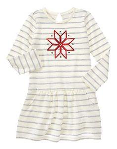 ad104baac9c69 Snowflake a Striped Dress Gymboree, Grey Stripes, Striped Dress, Snowflakes,  Girl Stuff