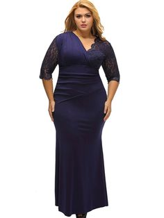 Asymmetric V-Neck Lace Three-Quarter Sleeve Women's Maxi Dress