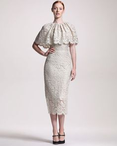 Lace Capelet Midi Dress by Dolce & Gabbana