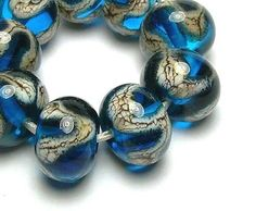 Handmade Lampwork Glass Beads SRA in Silvered Ivory Waves on Dark Aqua