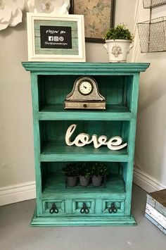 """Solid Wood/Pine Bookshelf w/3 drawers refinished in Junk Gypsy """"Wanderlust"""" and black glaze 39.5""""H 26.5""""W 12.5""""D"""