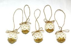 Christmas nuts ornament, Golden rustic ornaments, Lace Walnut, Christmas tree decoration, Stocking stuffer, Christmas party favors, Set of 5