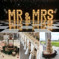 A pretty wedding with a rustic feel. Rustic centrepieces, chiffon drapes, rustic cake stands and 4ft letter lights