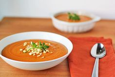 Spicy Peanut and Sweet Potato Soup Recipe. Vegetarian, vegan, and gluten-free.