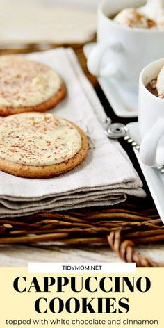 These CAPPUCCINO COOKIES taste just like they were dunked in coffee, and will make your house smell like you walked into a Starbucks. Made with instant cappuccino, and topped with white chocolate.......they are insanely delicious. Get the cookie recipe at TidyMom.net Best Dessert Recipes, Cookie Recipes, Drink Recipes, Easy Recipes, Good Food, Yummy Food, Delicious Desserts, Food Stamps, Cocktail Recipes