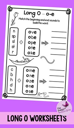 These long vowel worksheets are just what you need for you Kindergarten or First Grade students! These no prep worksheets are perfect for Literacy lessons, Literacy centers or word work. Are you teaching your class about long o sounds - long oa, long oe, long ow and long o with magic e? These printables will be easy to implement and engaging during your spelling or reading lessons. These ready to go worksheets are accessible to all students and are easy to implement. Long Vowel Worksheets, Printable Worksheets, Printables, Phonics Sounds, Vowel Sounds, Long Vowels, Reading Lessons, Word Work, Literacy Centers