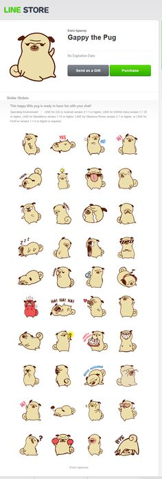 Line Stickers - Gappy the Pug on Behance