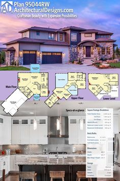 Architectural Designs House Plan 95044RW gives you and open concept layout so you can see the fireplace while cooking in the kitchen! Enjoy the flexibility of 3-5 beds and over 3,300 square feet of heated living space. Ready when you are. Where do YOU want to build?