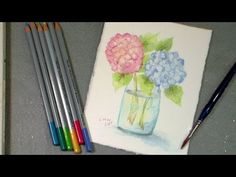 The Frugal Crafter Watercolor Tutorials on YouTube - Hydrangea Using Watercolor Pencils