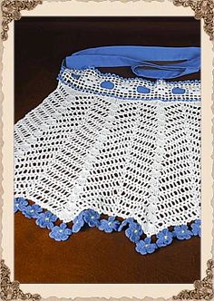 Fabulous Vintage Hand Crocheted Apron with Forget me Nots