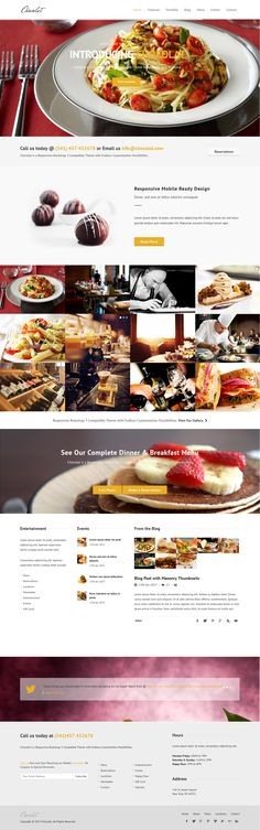 Chocolat is a Responsive Bootstrap HTML5 #Template ideal for the #hospitality industry including #restaurants, bars,…