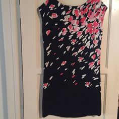 Loft black with floral print dress size small Loft black dress with pink and white floral print, great for work, perfect condition, one little thread is off in back as seen in last pic, barely noticeable, zipper in back, size small LOFT Dresses Midi