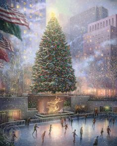 Thomas Kinkade's depiction of the Christmas tree in Rockefeller Center in New York. Description from examiner.com. I searched for this on bing.com/images