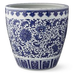Blue and White Ceramic Outdoor Planter - Camelia | Outdoor Decor | Williams Sonoma