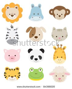 Vector illustration of animal faces - 이 스톡 벡터을(를) Shutterstock에서 구매하고 다른 이미지를 찾습니다.