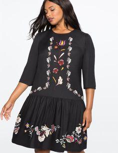 36a12a47912 Embroidered Drop Waist Dress