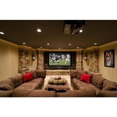 Theater Room ❤ liked on Polyvore featuring house, rooms, home, basement and places