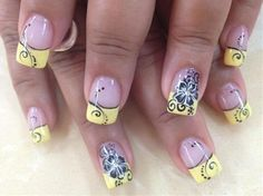 black and yellow nail designs |  nails images , Acrylic , Acrylic Nails , Yellow tips with black flower Nails | Picture design nails
