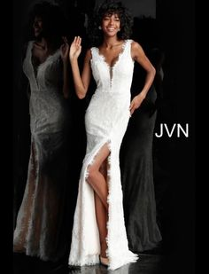 JVN Prom JVN60595 High Slit Lace Gown