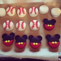 Chocolate covered Oreos- Mickey Mouse and baseballs :-)