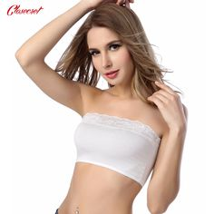cfc98f200985e 2Pcs Lot 2017 Sexy Lingerie Lace Stretch Boob Tube Top Lace Bra Crop Top  for Women Ladies Bandeau 2 Colors-in Tube Tops from Women s Clothing    Accessories ...