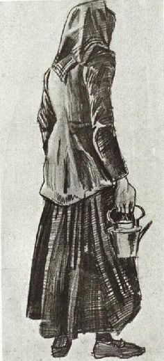 Vincent van Gogh: Woman with Kettle, Seen from the Back,  The Hague: September, 1882 (Otterlo, Kröller-Müller Museum) F 1051, JH 215