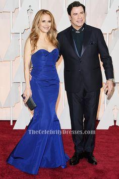 Kelly Preston Royal Blue Mermaid Formal Dress Vanity Fair Oscar Party 2015 - TheCelebrityDresses