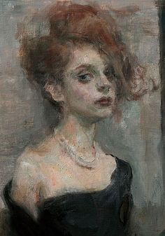 """""""Wallflower"""" - Ron Hicks (b. 1965), oil on canvas {figurative #expressionist art female redhead woman face portrait painting #loveart} ronhicks.com"""