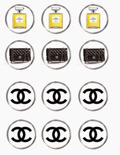 Chanel Free Printable Toppers, Labels, Stickers or Bottle Caps.