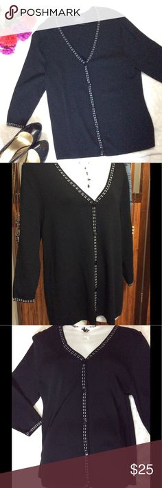NWOT Finity Woman Black Sweater with White Trim 🐼Finity Woman NWOT Size 1X Black with White Stitching V-Neck Button down 18in Sleeves 27in Shoulder top To hem 21in Armpit to Armpit unstretched  25in Armpit to Armpit Stretched  5 Buttons 65% Rayon 35% Nylon Finity Sweaters V-Necks