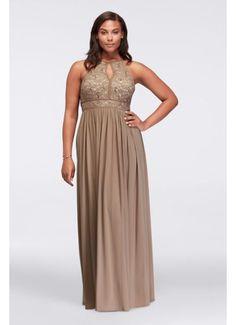 Lace Keyhole Tie Back Plus Size Halter Dress 12089DW