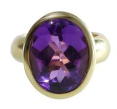 Aletto & Co. Amethyst Cabochon Gold Bezel Set Ring.