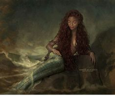 Disney princess Ariel live action film art The Little Mermaid Little Mermaid Live Action, Little Mermaid Art, Ariel Mermaid, Black Mermaid, Ariel Live Action, Black Girl Art, Black Women Art, Mermaids And Mermen, Afro Art