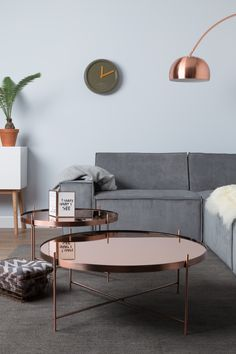 Stylish monochrome living room inspiration with greenery and wood accents. We love the copper coffee tables.