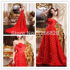 Free Shipping Women's Fashion Red Lace Long Prom Party Gown Formal Evening Dress 2014