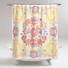 With a hand-drawn appeal, our shower curtain features a single oversized medallion surrounded by a whimsical floral pattern in complementary purple, orange, coral and aqua hues. World Market Shower Curtain, Stylish Shower Curtain, Shared Girls Room, Bathroom Items, Curtains, Cheap Apartment, Full Bathroom Remodel, Bathroom Design, Bathroom Redo