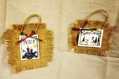 Burlap Christmas Decoration by CountryHeartCreation on Etsy, $4.00