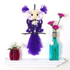 Violet Purple Macrame Owl, Fluffy Eyes, Hippie Chic, Keepsake Owl, Nursery Art Décor, Vibrant Grape, Macrame Bird
