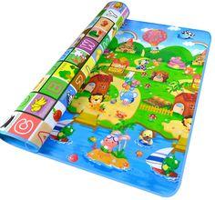 Double-side Waterproof Baby Play Mat Soft Environment-friendly Toddler Play Mat 200CM / 180CM / 150CM / 2CM / 1CM / 0.5CM (200*180*0.5cm, Sea World + Zoo)