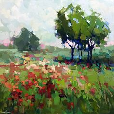 Keri's Happy Place by Trisha Adams, Oil, 24 x 24 x deep Impressionist Landscape, Abstract Landscape Painting, Impressionist Paintings, Landscape Art, Landscape Paintings, Impressionism, Selling Paintings, Paintings I Love, Guache